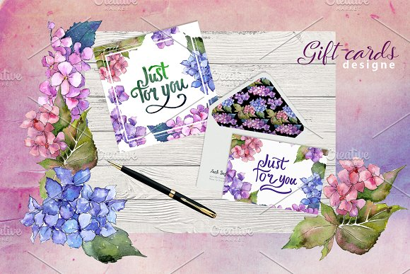 Hydrangea PNG watercolor flower set  in Illustrations - product preview 3