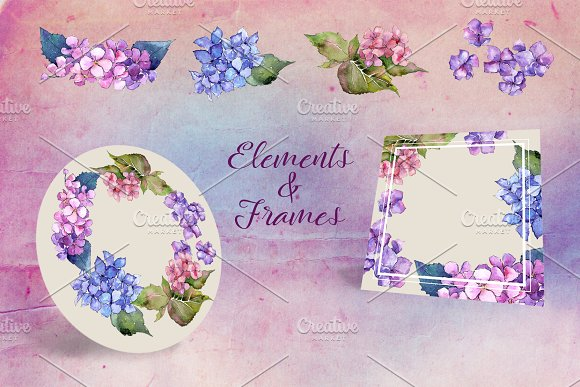 Hydrangea PNG watercolor flower set  in Illustrations - product preview 4
