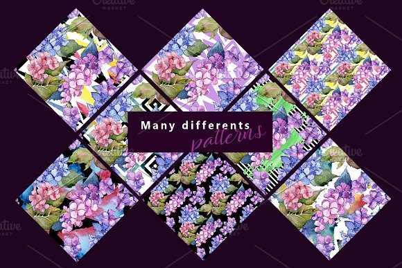 Hydrangea PNG watercolor flower set  in Illustrations - product preview 5