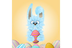 Blue Easter bunny is holding painted and decorated egg. Vector illustration.