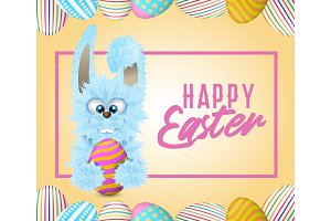 Happy Easter greeting card with blue fluffy bunny that is holding decorated and painted egg.