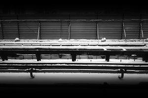 Horizontal black and white railway under construction background