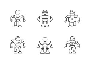 Set line icons of robot