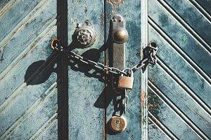 Padlock of a blue door
