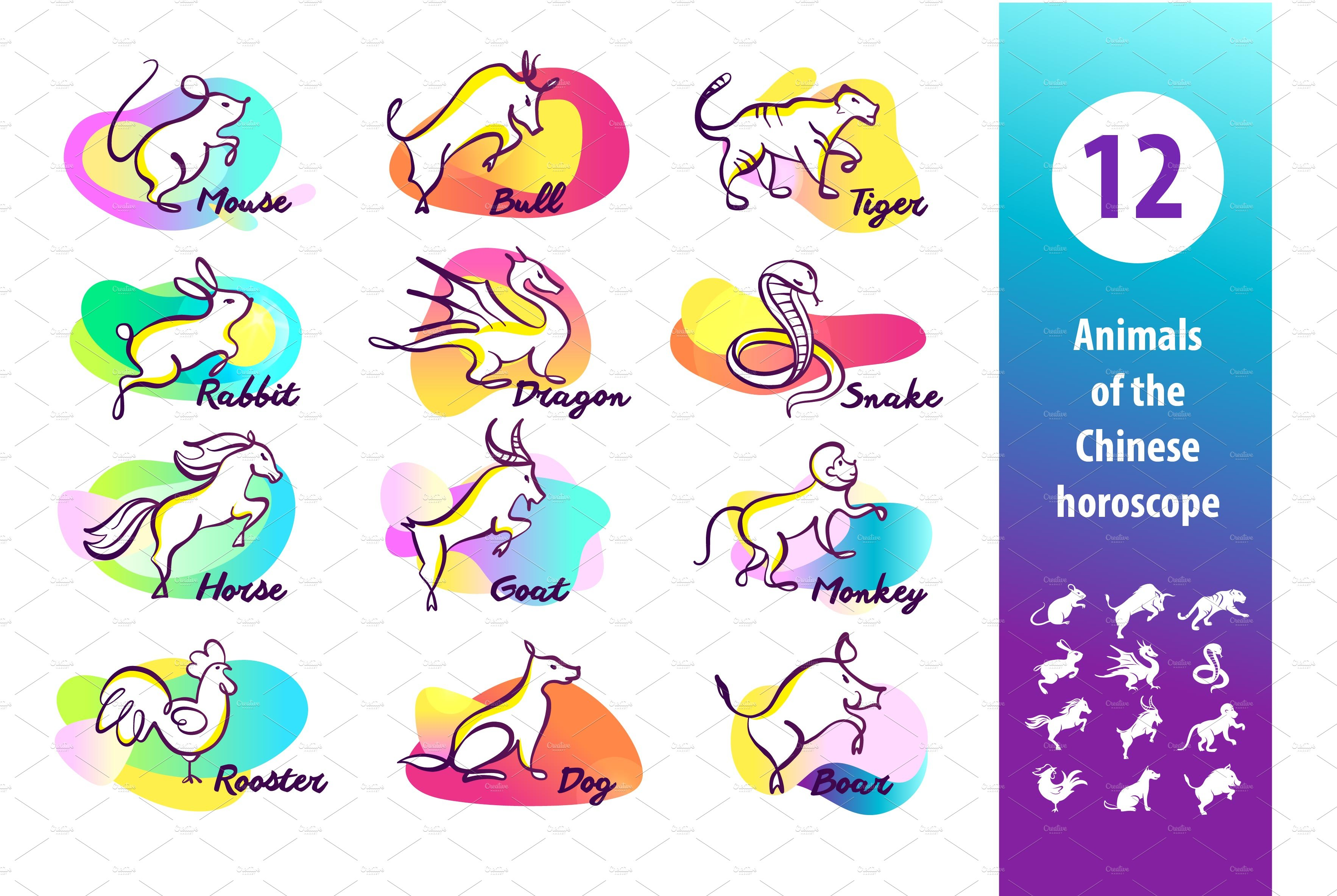 Chinese Zodiac Signs Illustrations Creative Market