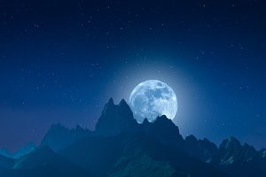 Mountains and moon