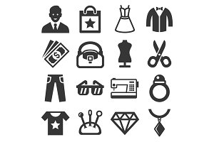 Fashion and Shopping Icons Set