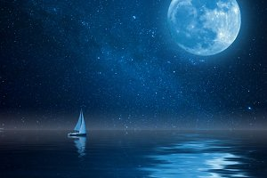 Night sea and moon