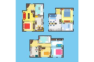 Apartment Plan with Furniture Set.