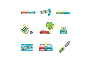 Cartoon Car Crash Road Accident Set.