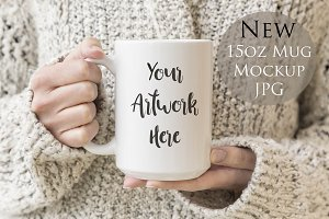 15oz large mug mockup-woman's hands