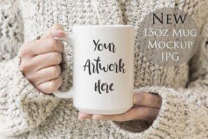 15oz large mug mockup-woman's hands