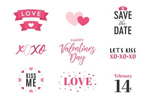 Valentine's Day Vector Text Set