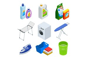 Isometric laundry service elements set