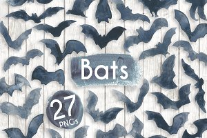 Watercolour Black Inky Bats