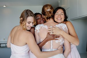 Bridesmaids congratulating