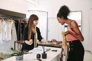 Woman entrepreneur making sale