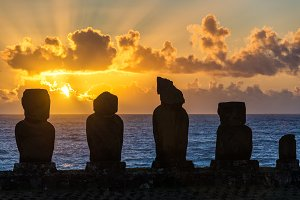 Five Moai at Sunset