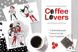 Coffee lovers - trendy characters