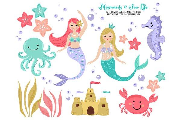 Mermaid Sea Beach Life Clip Art