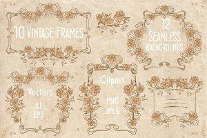 Vintage frames & seamless background