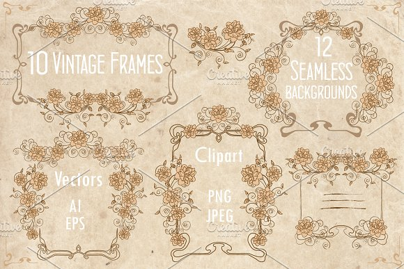 Vintage Frames Seamless Background