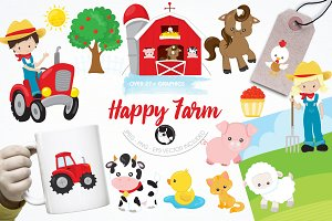 Happy farm graphics & illustrations