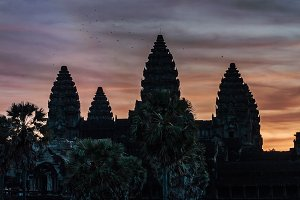 Temple sunrise sky