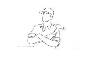 Builder Carpenter Continuous Line