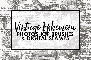 Vintage Ephemera PS Brushes & Stamps