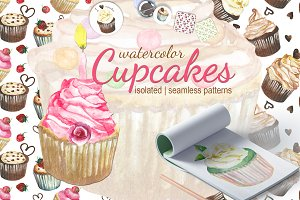 Cupcakes watercolor set