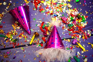 party hat, whistle and confetti for a celebration