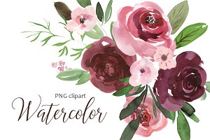 Watercolor pink & burgundy flowers