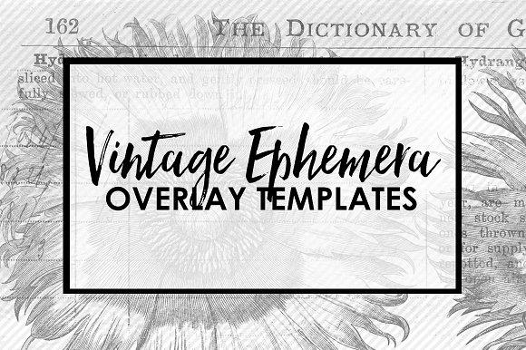 Vintage Ephemera Overlay Templates