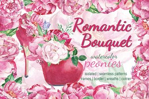 Romantic bouquet watercolor set