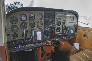 Cockpit of a small plane