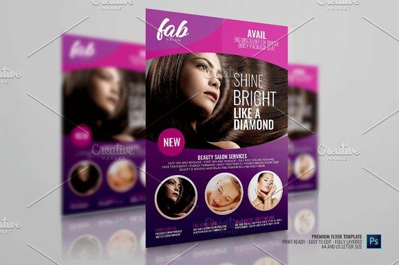 Hair salon and makeup center flyer flyer templates creative market saigontimesfo