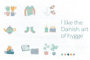 Hygge design elements illustrations