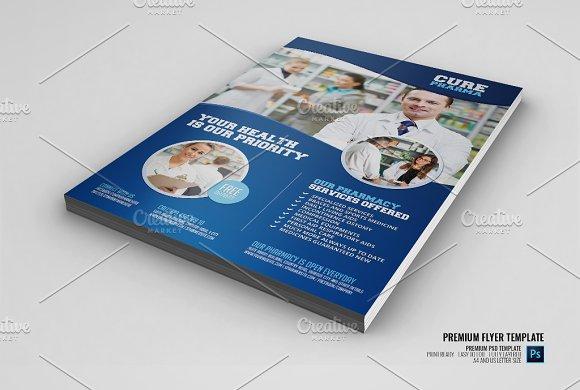 Pharmacy Medical Services Flyer Flyer Templates Creative Market