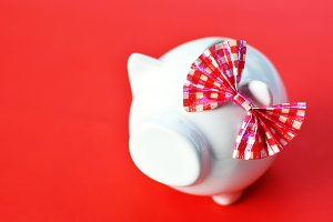 piggy bank on red background