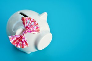 piggy bank on blue background