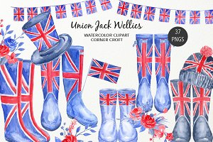 Watercolour Union Jack Wellies