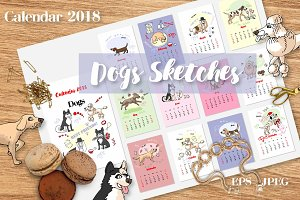 Calendar 2018 Dogs Sketches