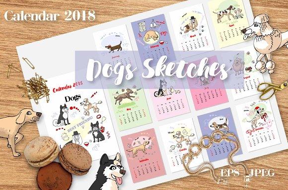Calendar 2018 Dogs Sketches