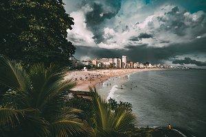 Stormy landscape, beach in Rio