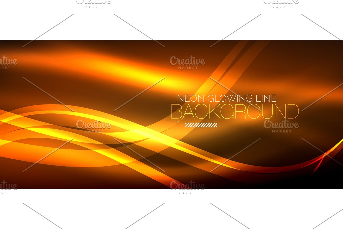 Neon Orange Elegant Smooth Wave Lines Digital Abstract Background