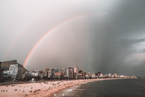 Rainbow over Ipanema beach in Rio
