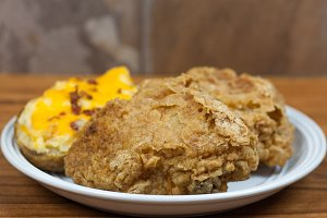 Crispy Fried Chicken and Twice Baked