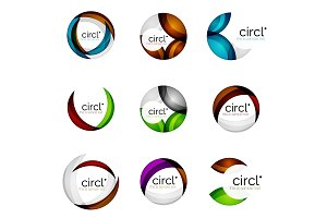Circle logo collection. Transparent overlapping swirl shapes