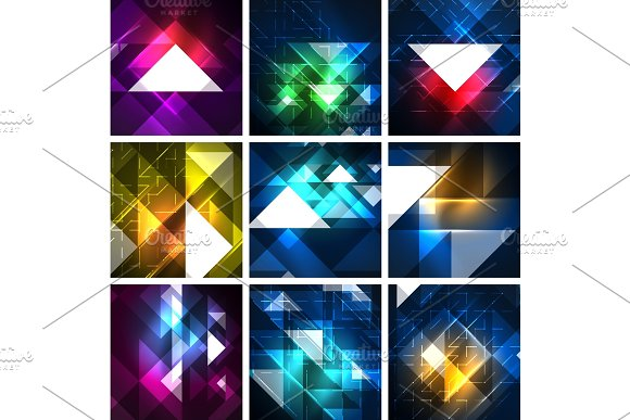 Neon Triangles On Color Dark Backgrounds